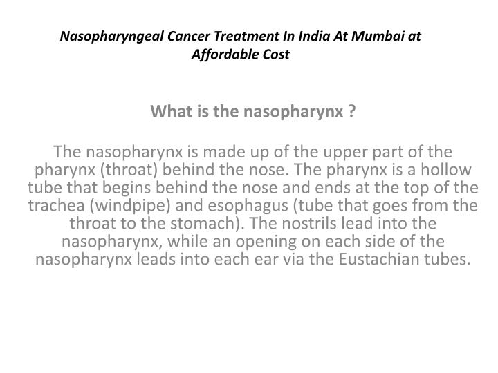 nasopharyngeal cancer treatment in india at mumbai at affordable cost n.