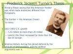 frederick jackson turner s thesis