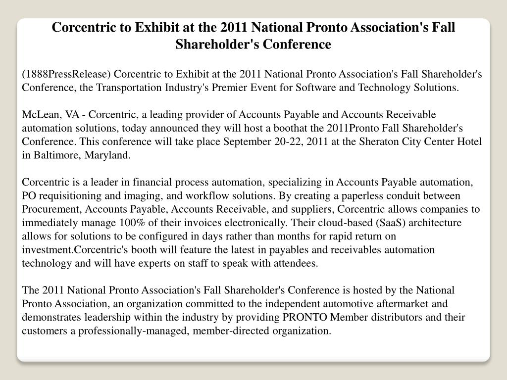 Corcentric to Exhibit at the 2011 National Pronto Association's Fall Shareholder's Conference