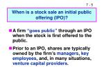when is a stock sale an initial public offering ipo