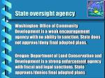 state oversight agency