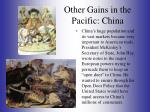 other gains in the pacific china