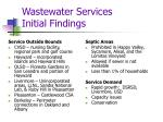 wastewater services initial findings