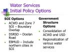 water services initial policy options