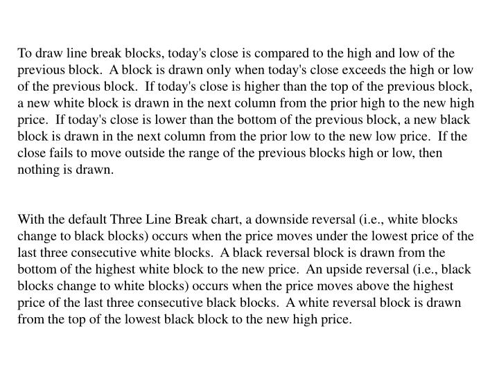 To draw line break blocks, today's close is compared to the high and low of the previous block.  A block is drawn only when today's close exceeds the high or low of the previous block.  If today's close is higher than the top of the previous block, a new white block is drawn in the next column from the prior high to the new high price.  If today's close is lower than the bottom of the previous block, a new black block is drawn in the next column from the prior low to the new low price.  If the close fails to move outside the range of the previous blocks high or low, then nothing is drawn.