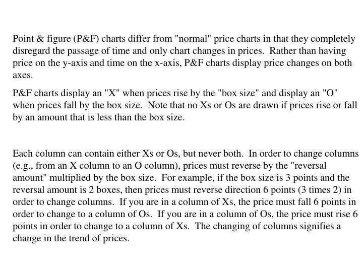 """Point & figure (P&F) charts differ from """"normal"""" price charts in that they completely disregard the passage of time and only chart changes in prices.  Rather than having price on the y-axis and time on the x-axis, P&F charts display price changes on both axes."""