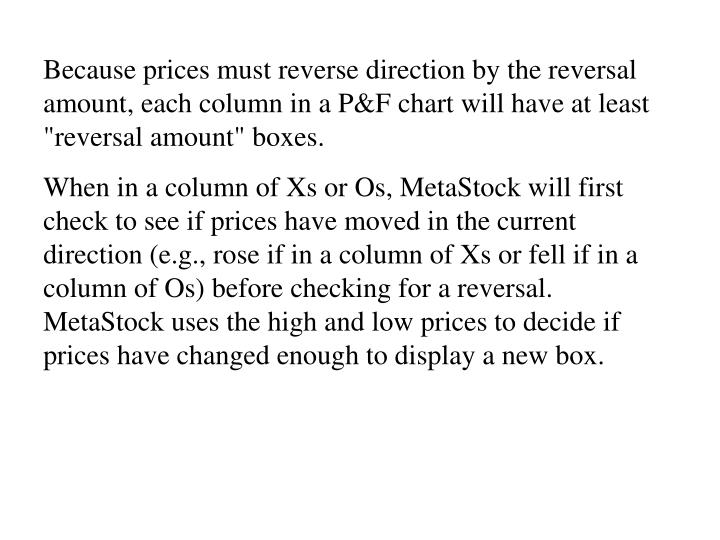 """Because prices must reverse direction by the reversal amount, each column in a P&F chart will have at least """"reversal amount"""" boxes."""
