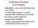 criticism of county government