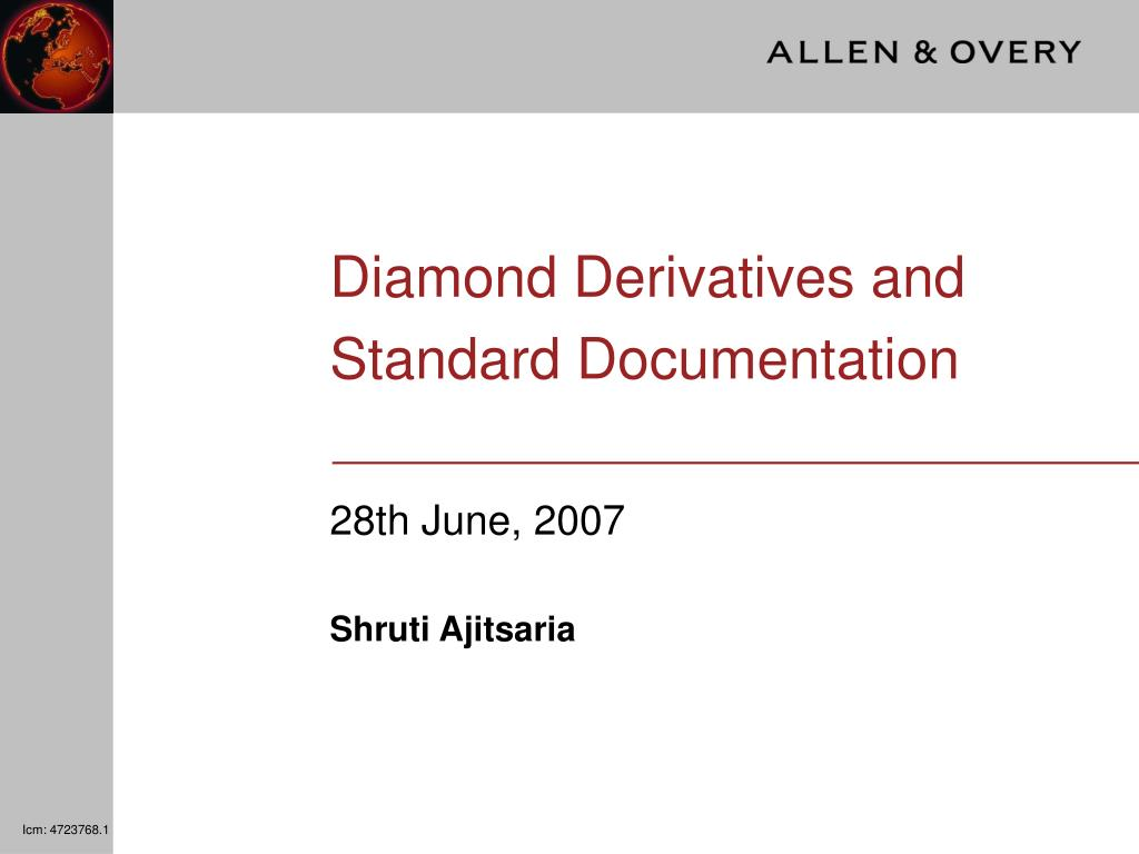 diamond derivatives and standard documentation l.