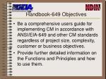 handbook 649 objectives