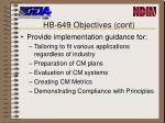 hb 649 objectives cont