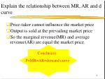 explain the relationship between mr ar and d curve