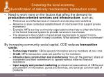 fostering the local economy diversification of delivery mechanisms transaction costs