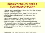 does my facility need a contingency plan
