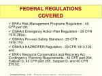 federal regulations covered17
