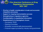 i pan american conference on drug regulatory harmonization nov 1997