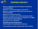 working groups i