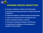 working groups objectives