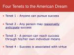 four tenets to the american dream