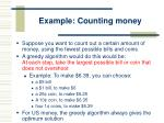example counting money