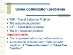 some optimization problems