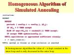 homogeneous algorithm of simulated annealing