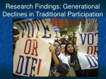 research findings generational declines in traditional participation