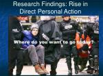 research findings rise in direct personal action