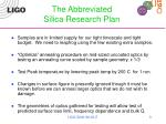 the abbreviated silica research plan
