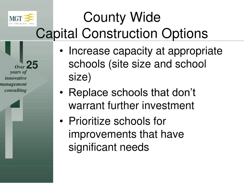 Increase capacity at appropriate schools (site size and school size)