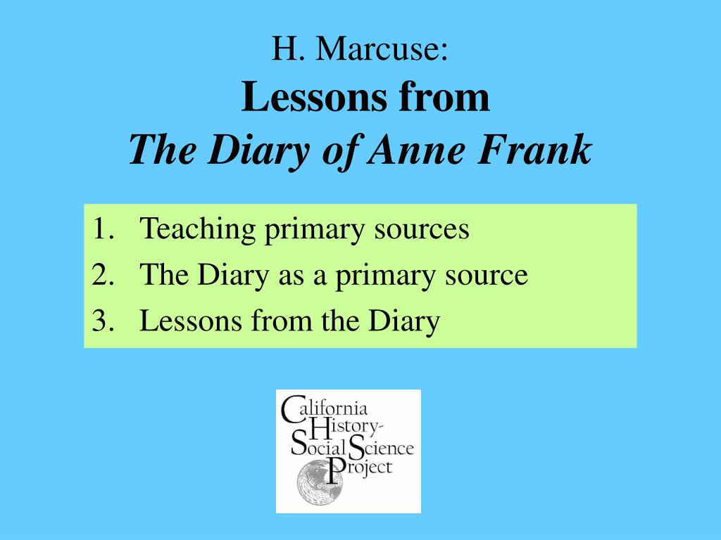 h marcuse lessons from the diary of anne frank l.
