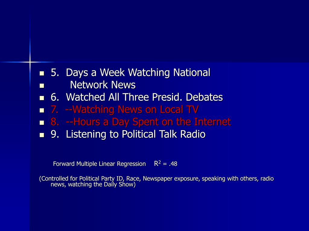 5.  Days a Week Watching National