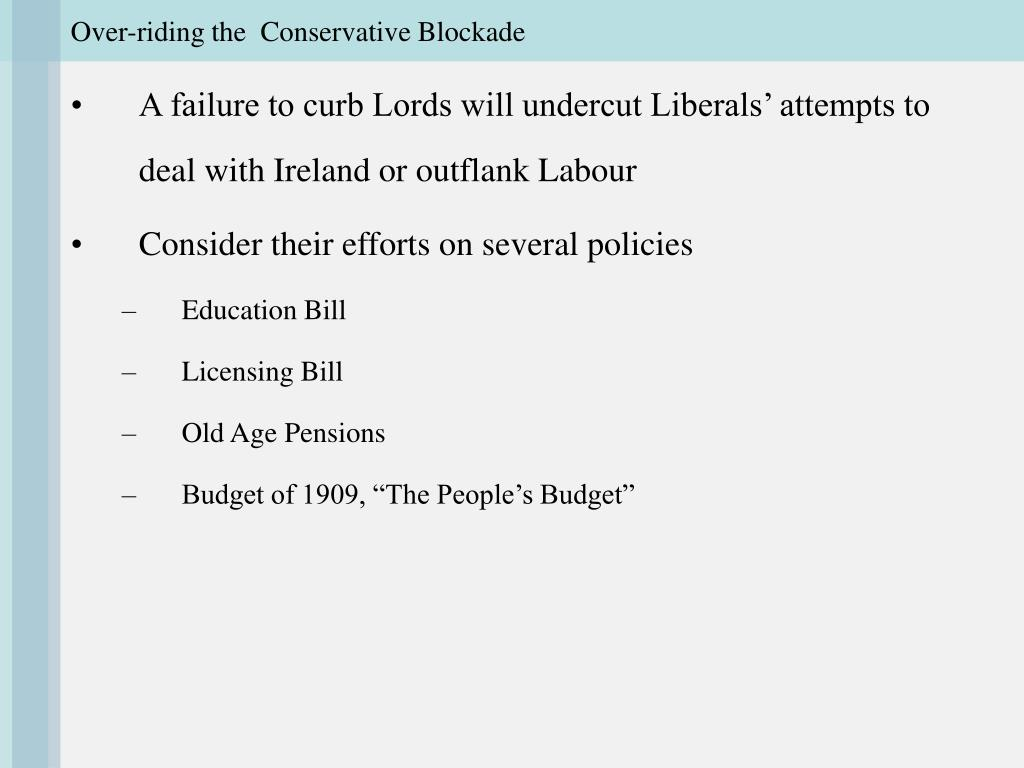 Over-riding the  Conservative Blockade