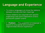 language and experience