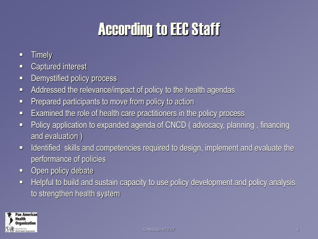 According to EEC Staff