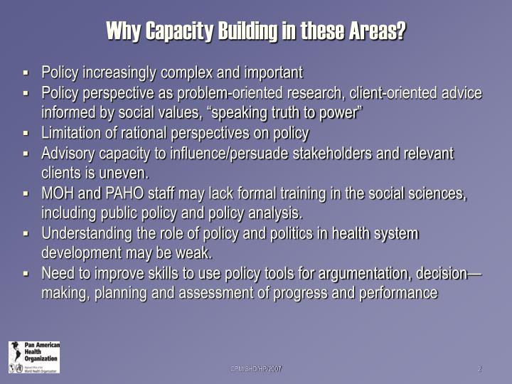 Why capacity building in these areas