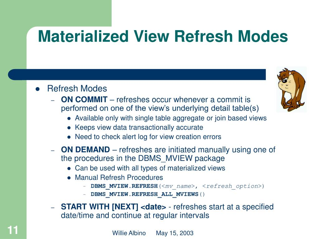Materialized View Refresh Modes