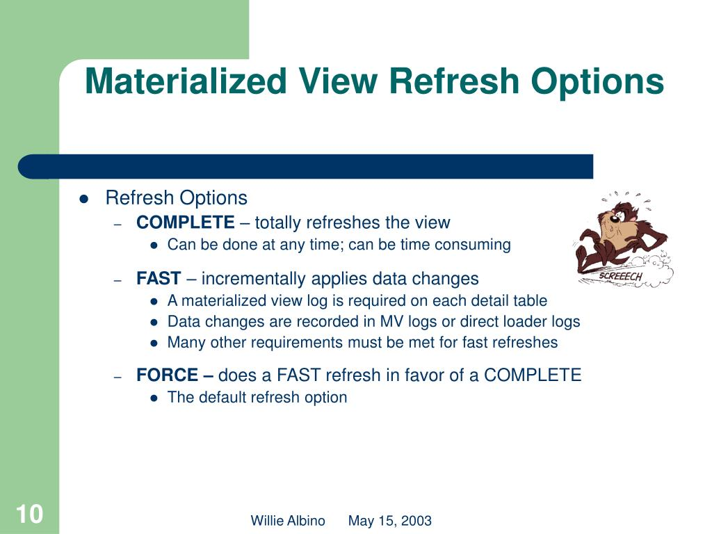 Materialized View Refresh Options