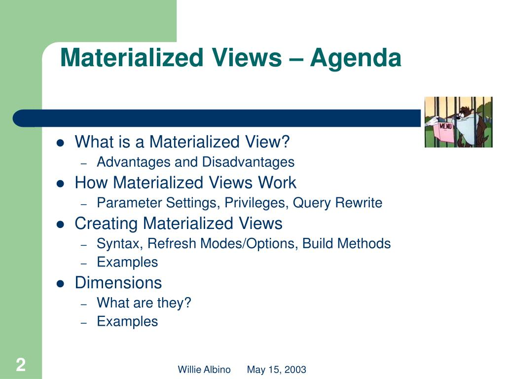 Materialized Views – Agenda
