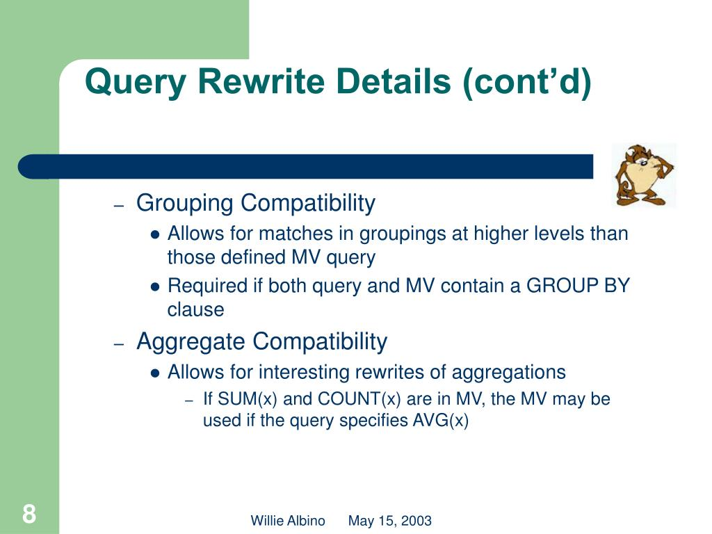 Query Rewrite Details (cont'd)