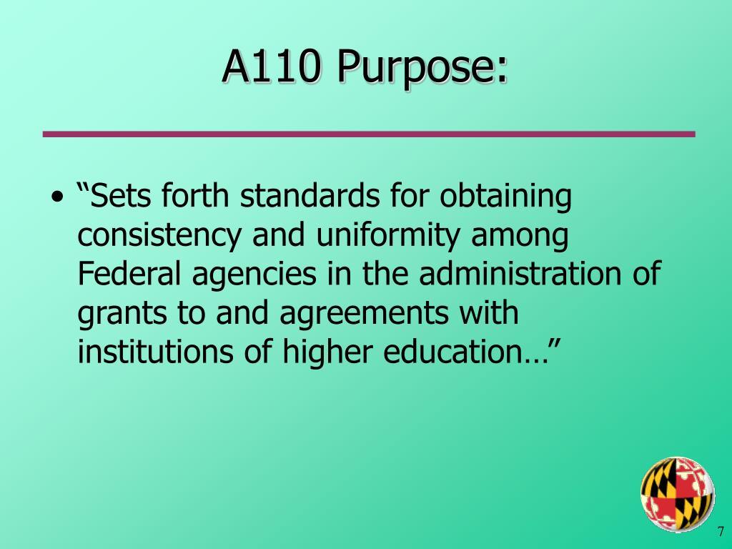 A110 Purpose: