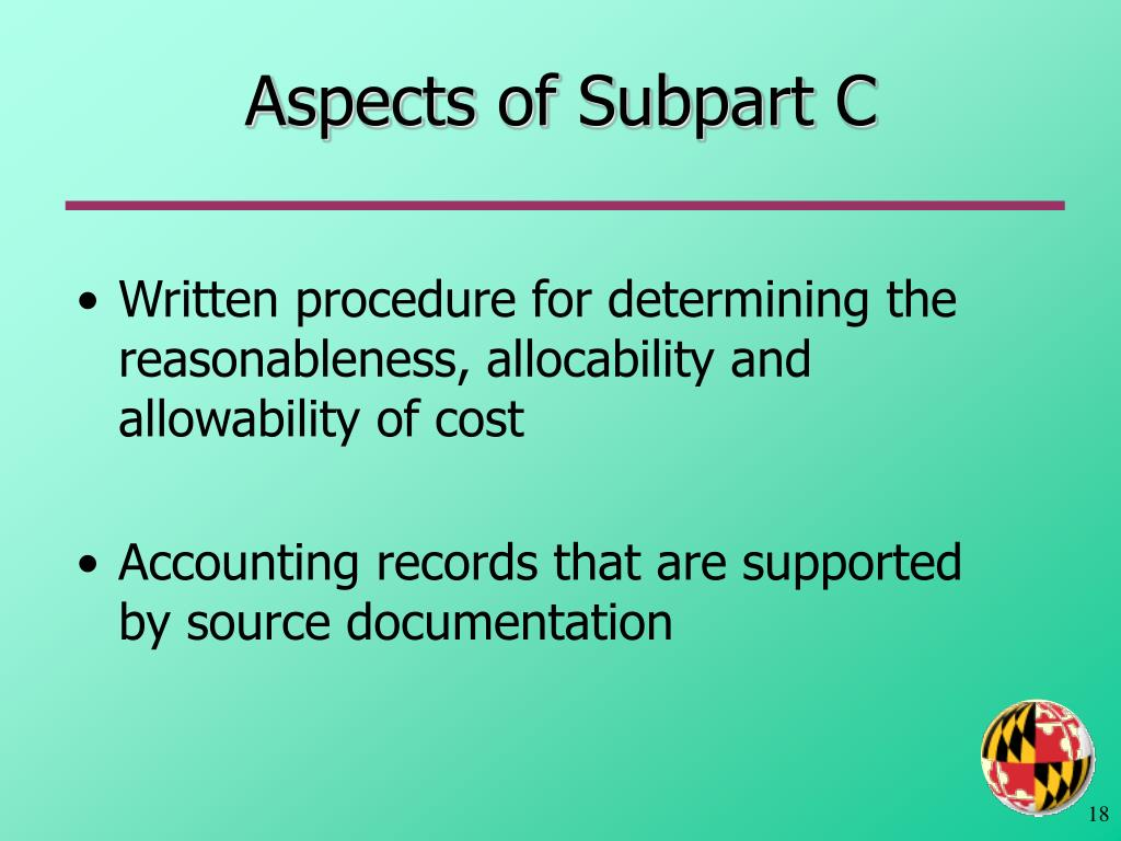 Aspects of Subpart C