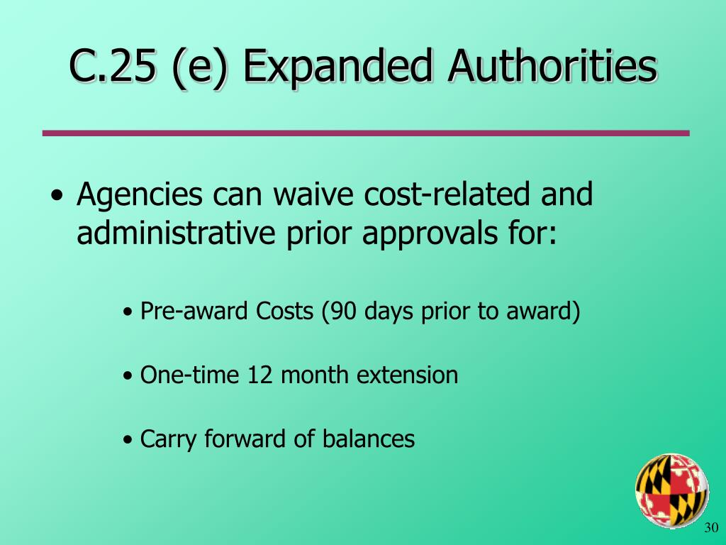 C.25 (e) Expanded Authorities