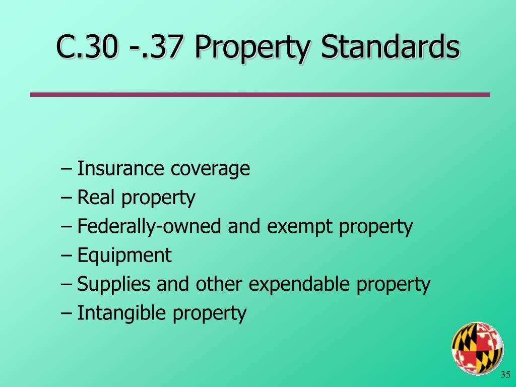 C.30 -.37 Property Standards