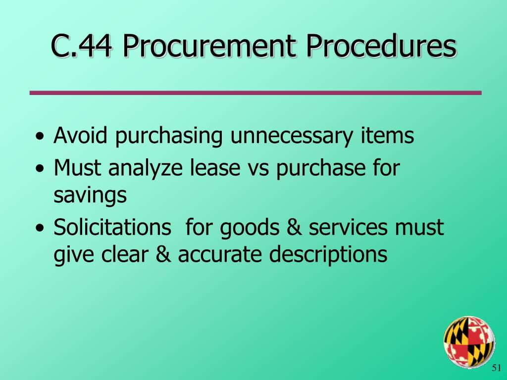C.44 Procurement Procedures