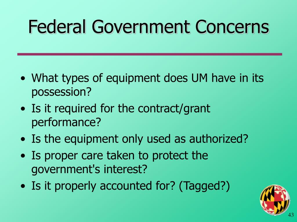 Federal Government Concerns