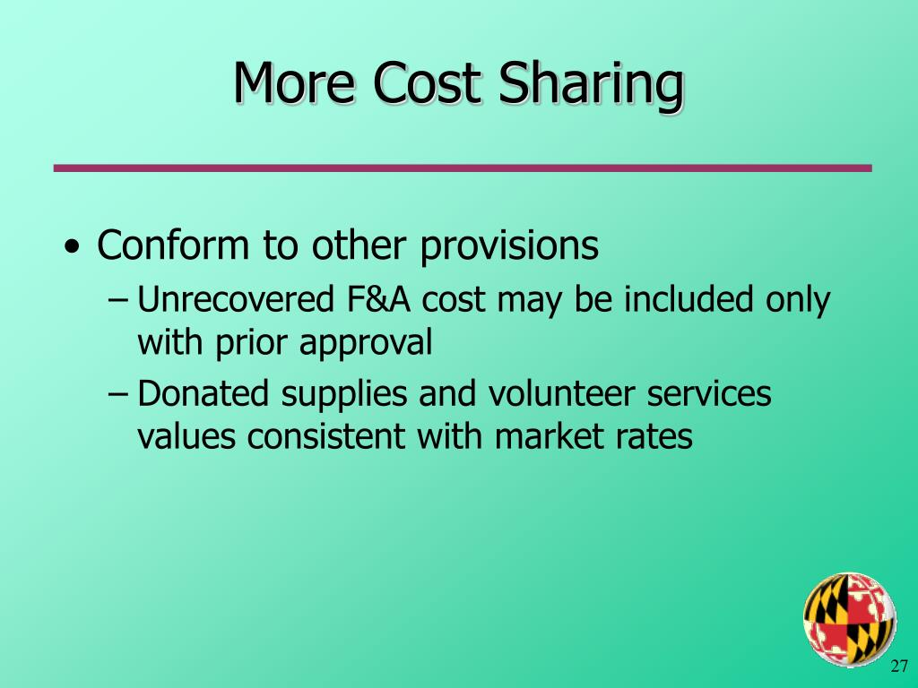 More Cost Sharing