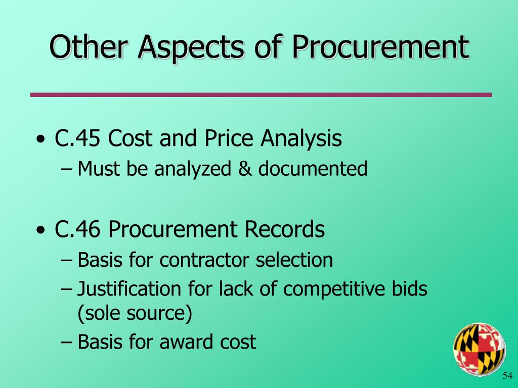 Other Aspects of Procurement