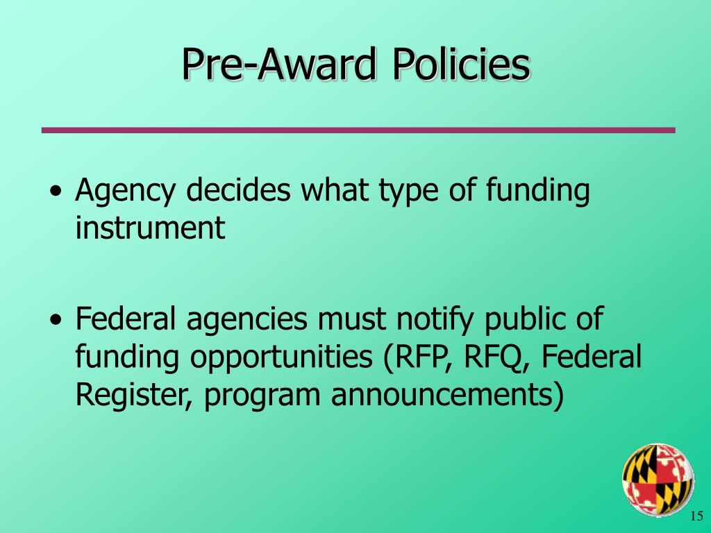 Pre-Award Policies