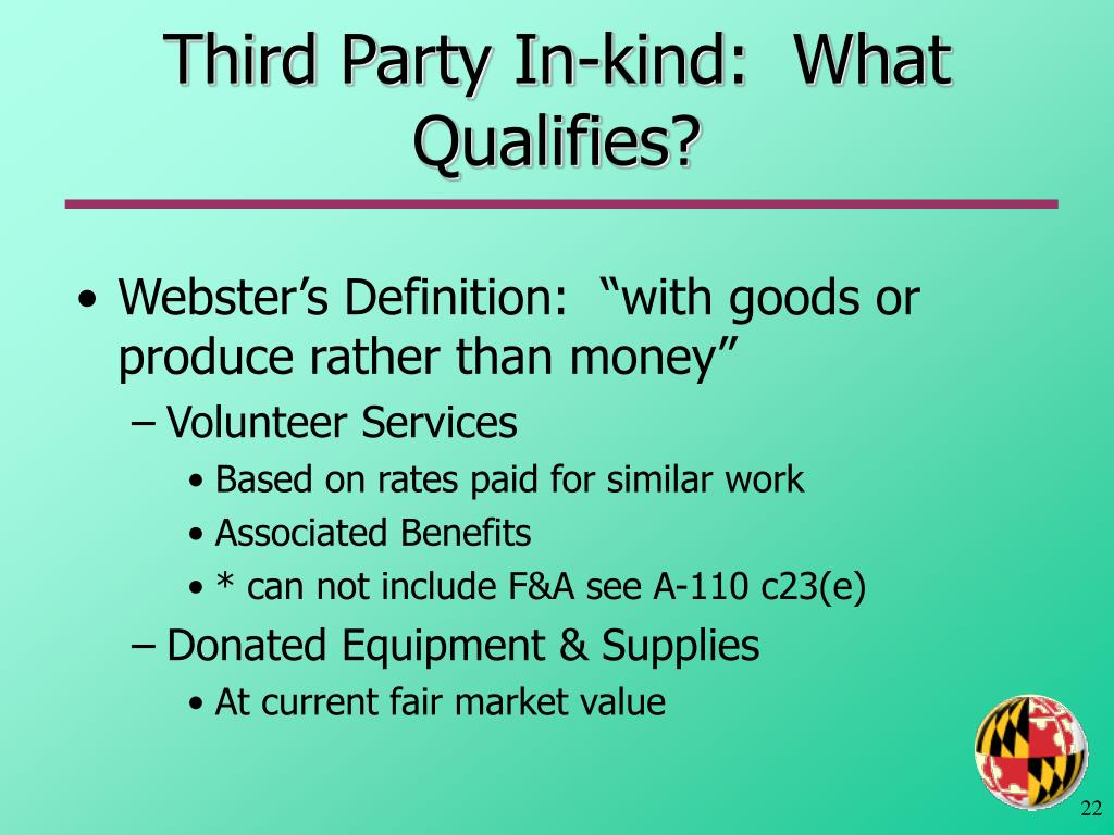 Third Party In-kind:  What Qualifies?